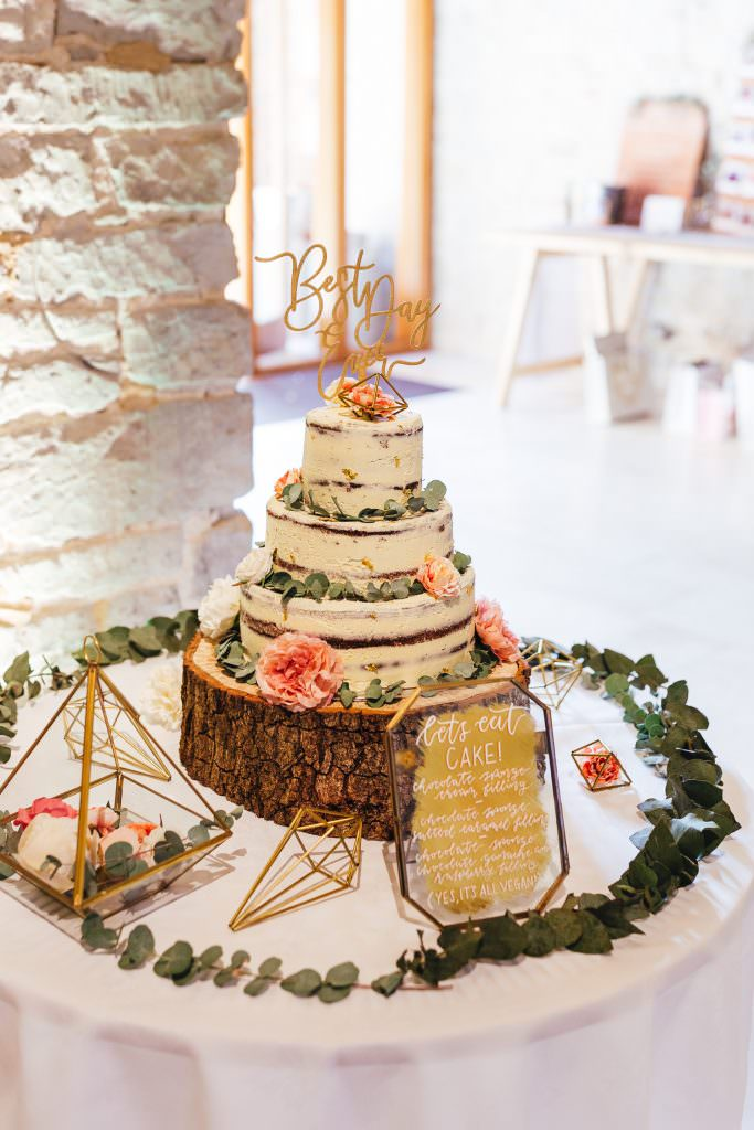 Vegan butter cream wedding cake at Tithe Barn Petersfield Wedding