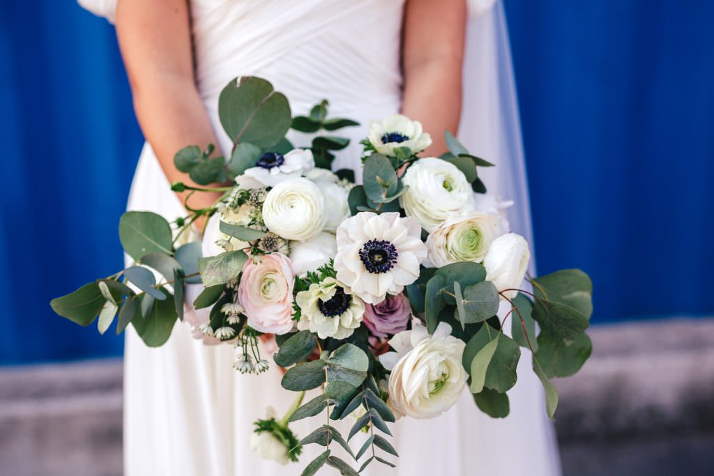 Spring bouquet at Industrial, modern wedding at Trinity Buoy Wharf