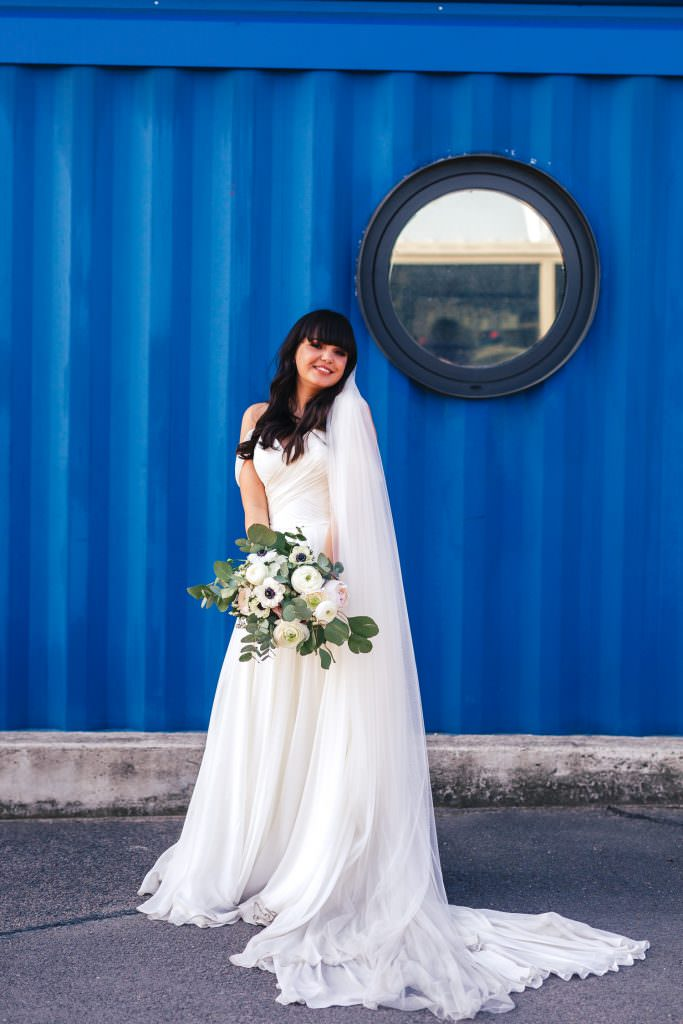Bridal portrait at Industrial, modern couple portraits at Trinity Buoy Wharf Urban Neon Wedding