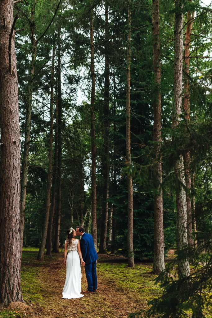 Woodland wedding photography in hampshire and surrey. Summer Festival Wedding Hampshire Photography. Bride and groom natural couple portraits.
