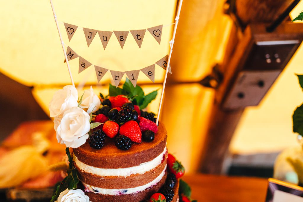 Cute home made cake at Summer Festival Wedding Hampshire Photography