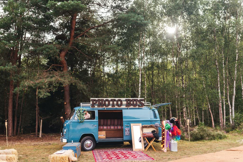 VW camper van photo booth fun at Summer Festival Wedding Hampshire Photography