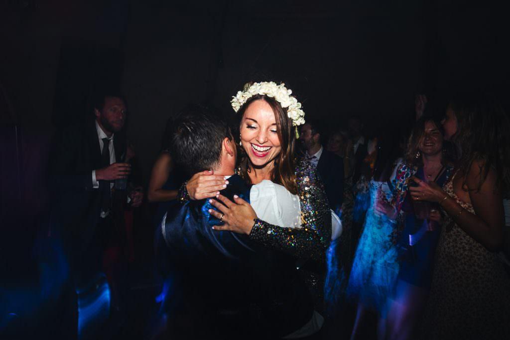 Dance floor fun at Summer Festival Wedding Hampshire Photography
