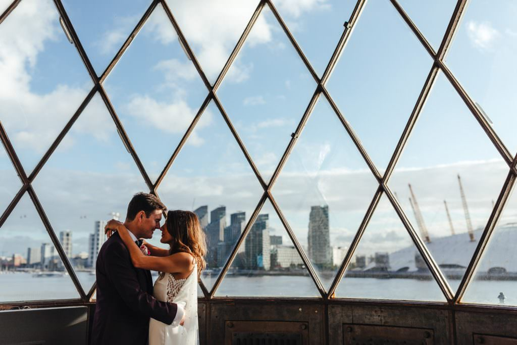 Couple portraits in a lighthouse at Trinity Buoy Wharf Neon Wedding in London