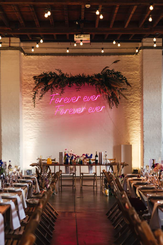 Neon sign by Neon Poodle at Trinity Buoy Wharf Neon Wedding