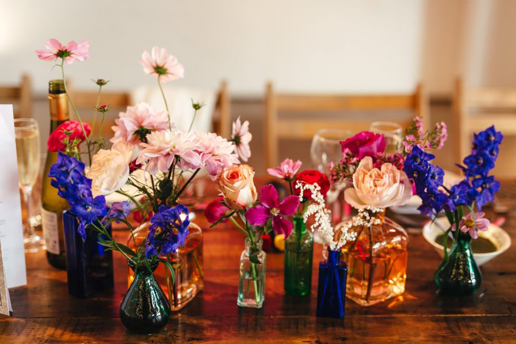 colourful flowers and pots at Trinity Buoy Wharf Neon Wedding