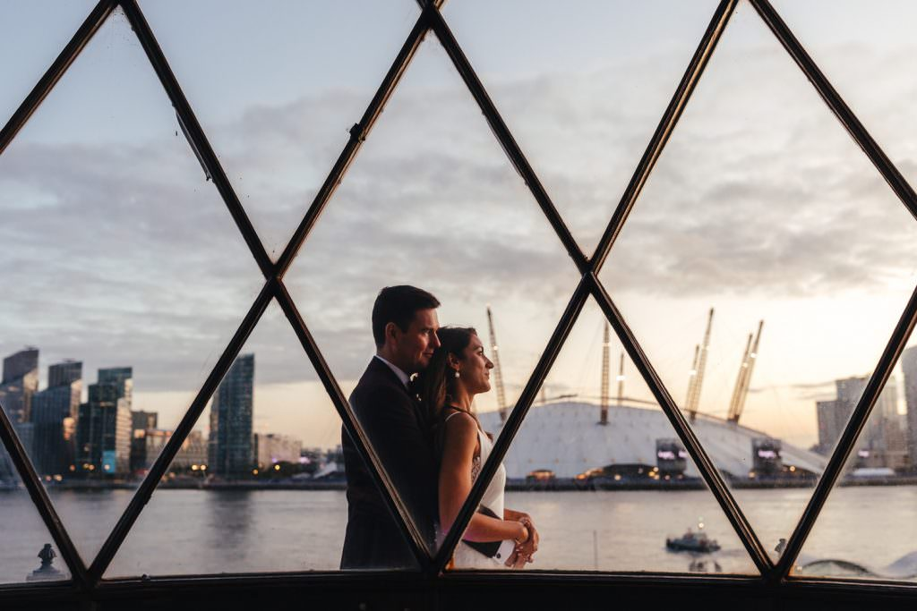 Sunset on top of a light house at Trinity Buoy Wharf Neon Wedding