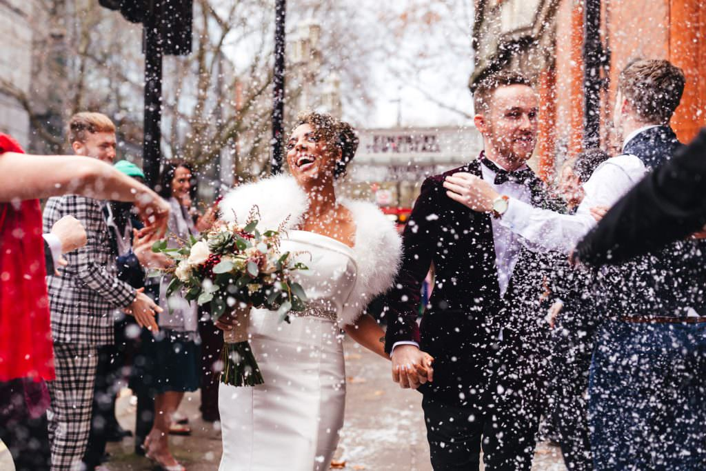snow confetti Old Finsbury Town Hall Wedding Photographer