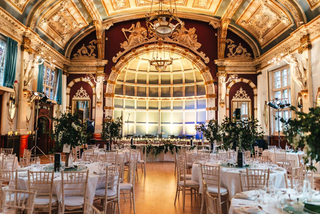Old Finsbury Town Hall Wedding Photographer evening reception room