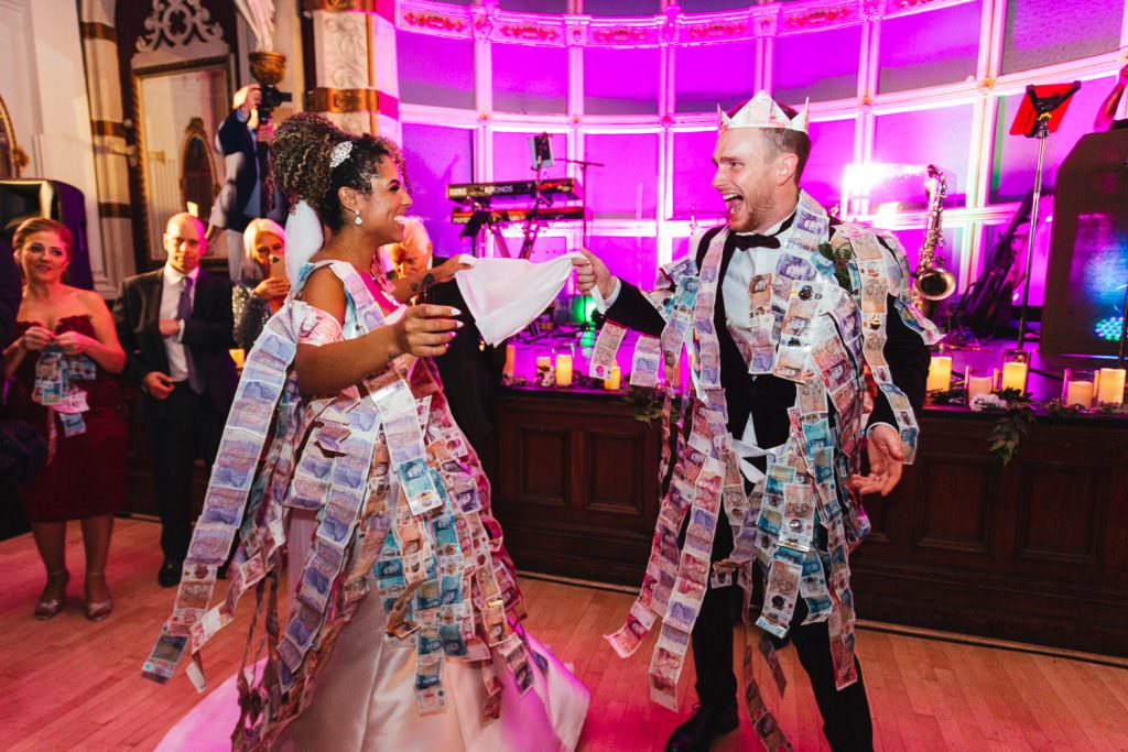 Old Finsbury Town Hall Wedding Photographer Greek money dancing