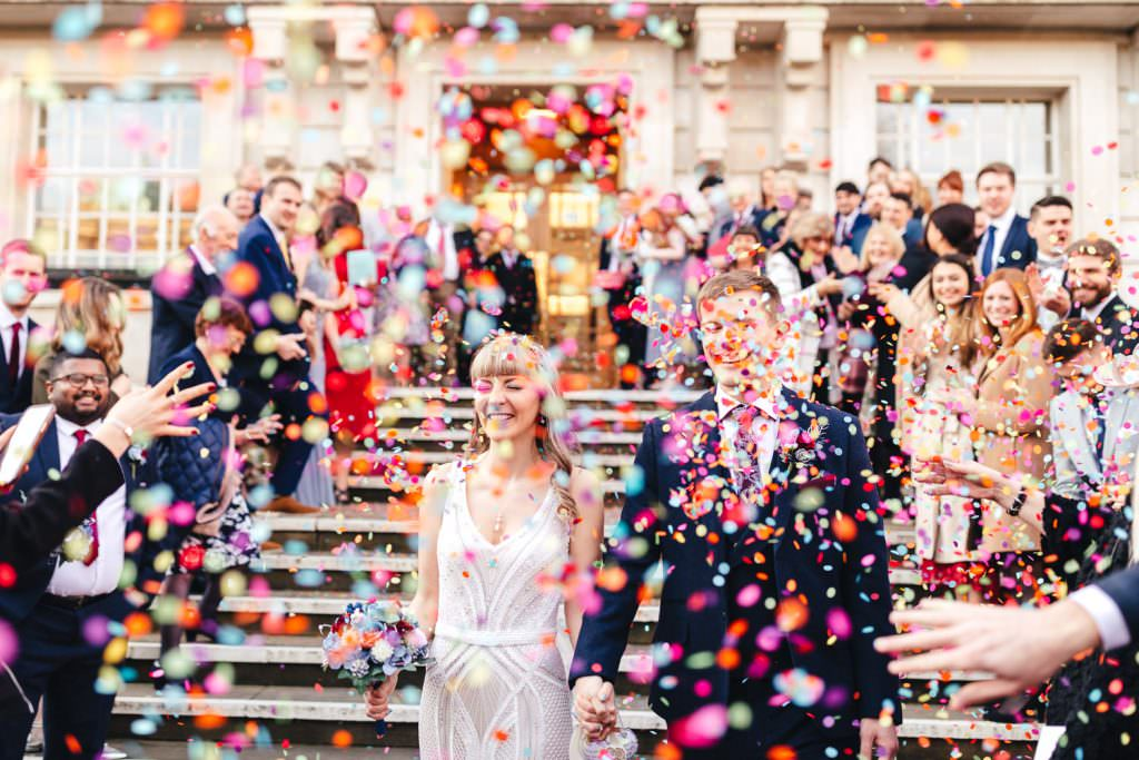 London Wedding Photography | St Barts Brewery Wedding Photography | Winter Wedding Hackney Town Hall colourful confetti