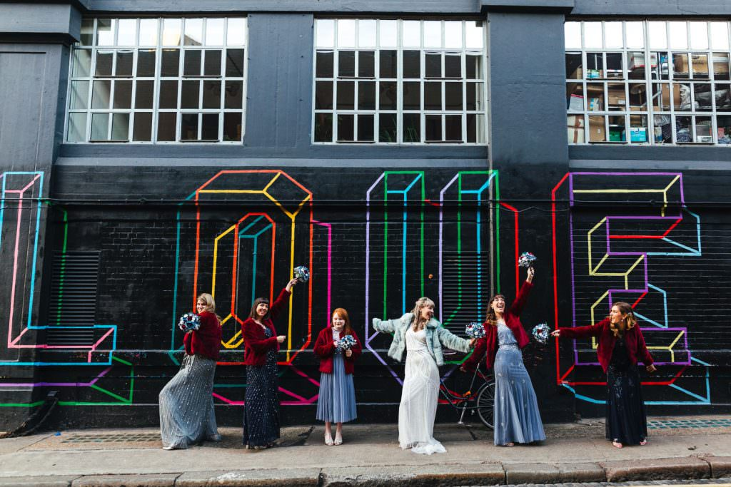 bridesmaids in fur London Wedding Photography | St Barts Brewery Wedding Photography | Winter Wedding Hackney Town Hall