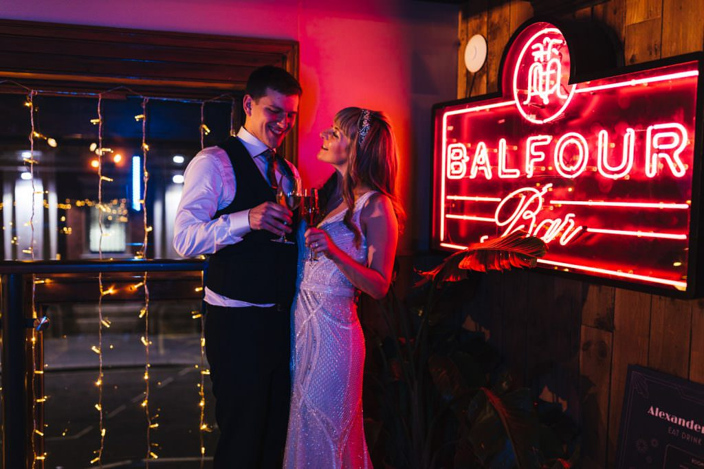 London Wedding Photography | St Barts Brewery Wedding Photography | Winter Wedding Hackney Town Hall Neon lights