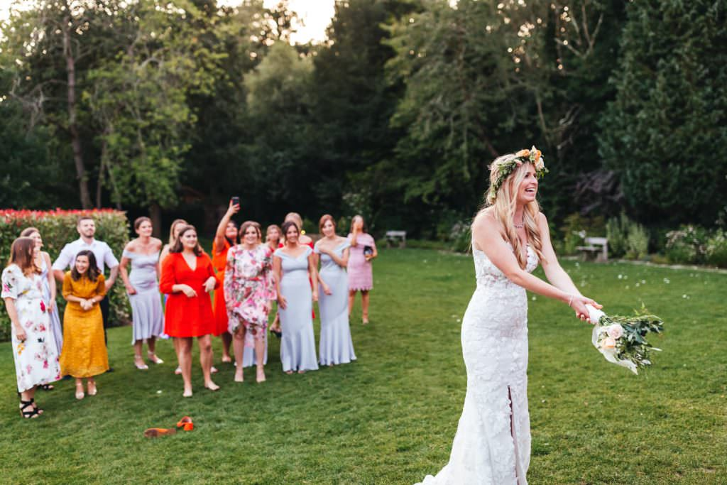 Bouquet Toss at Millbridge Court Wedding Photography - Surrey Wedding Photographer