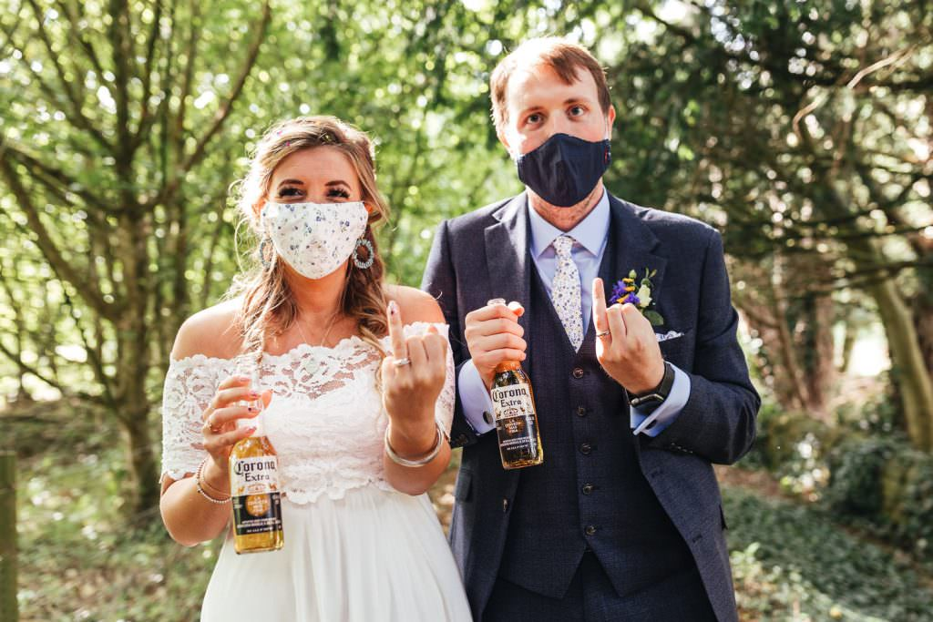 Covid Wedding with face masks Micro-Wedding Photography & Small Intimate Elopement Photographer during a pandemic