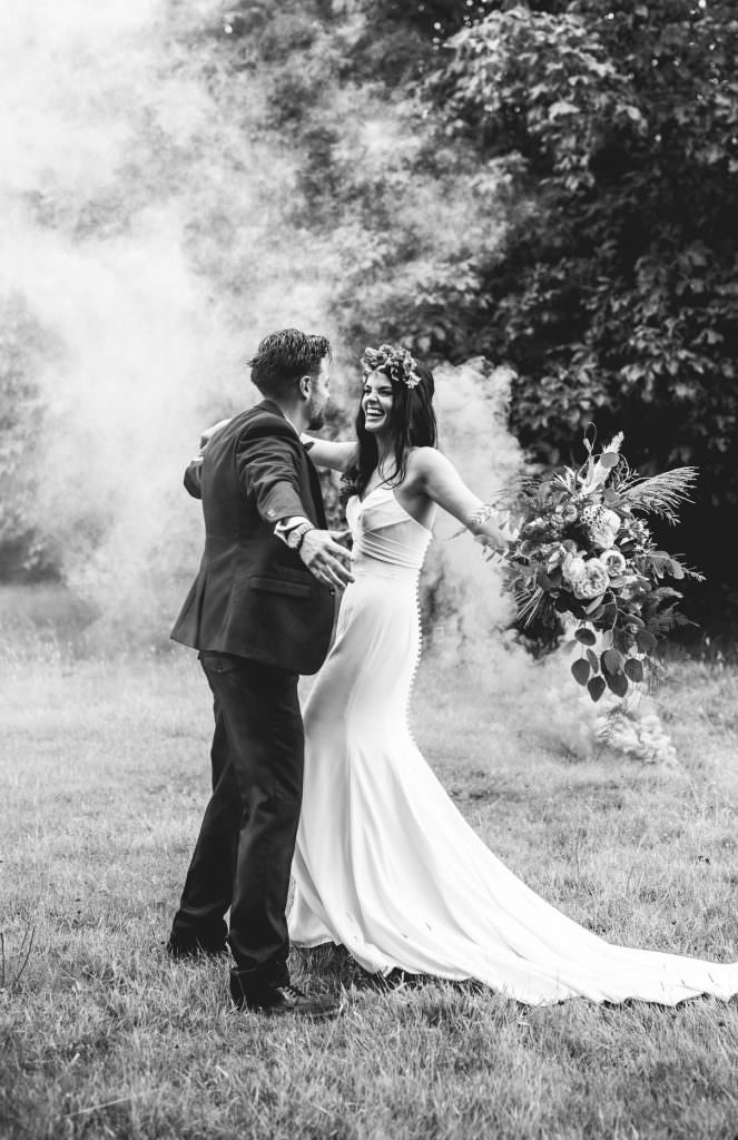 Covid Wedding Micro-Wedding Photography & Small Intimate Elopement Photographer during a pandemic - couple portraits with smoke bombs