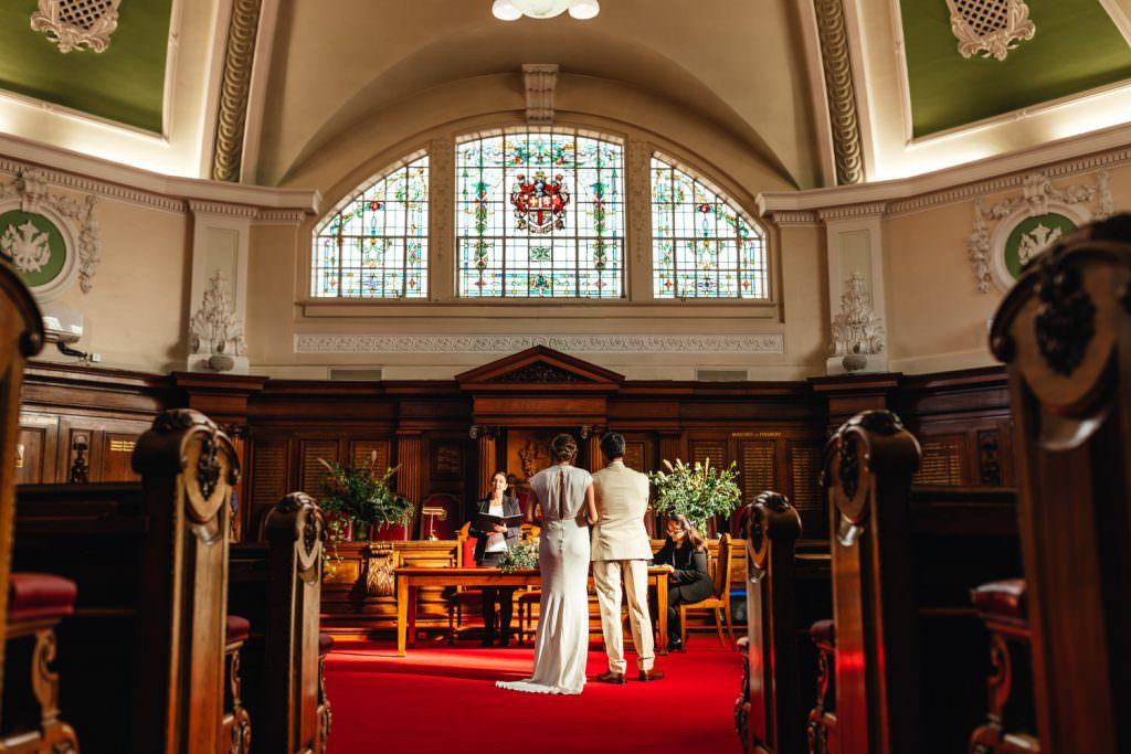 micro wedding venue london alternative small wedding venues Town hall wedding ceremony at Islington Town Hall