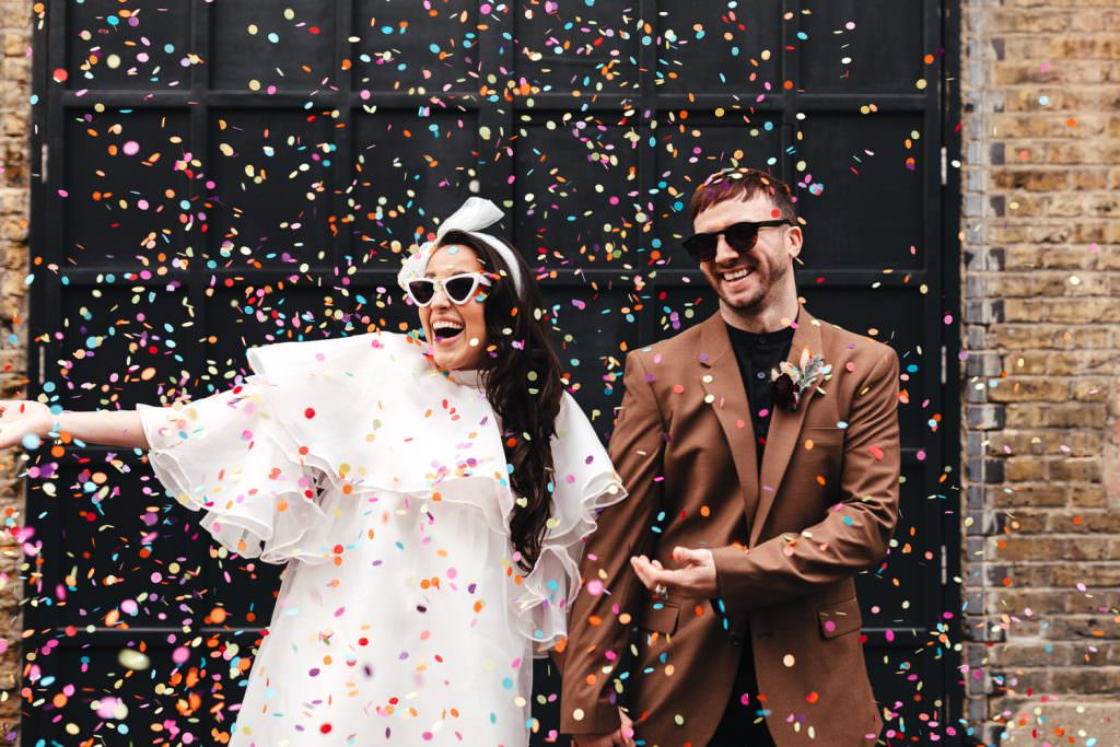 Clapton Country Club Wedding | Micro Wedding Photography with colourful confetti