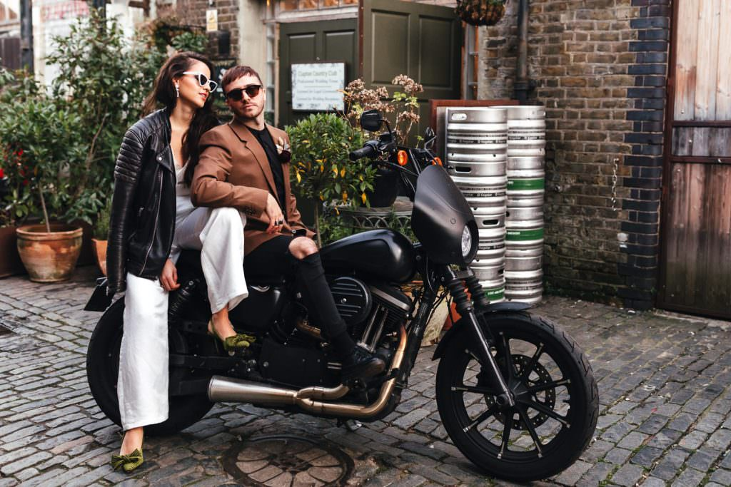 Clapton Country Club Wedding | Micro Wedding Photography - cool couple on motorbike